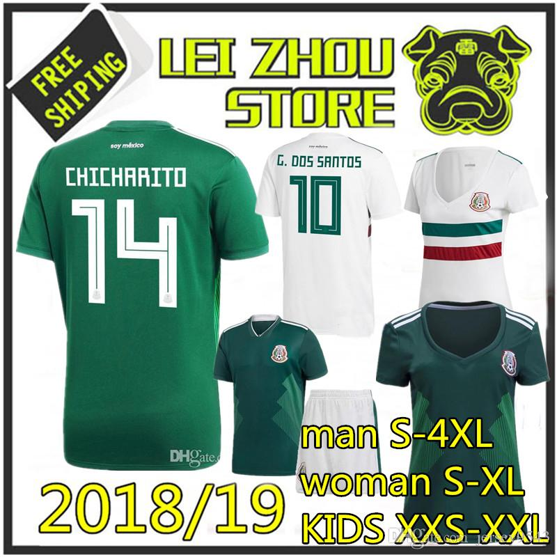 Thai Quality MEXICO SOCCER JERSEYS 2018 World Cup KIDS CHICHARITO ... ba37b37a2