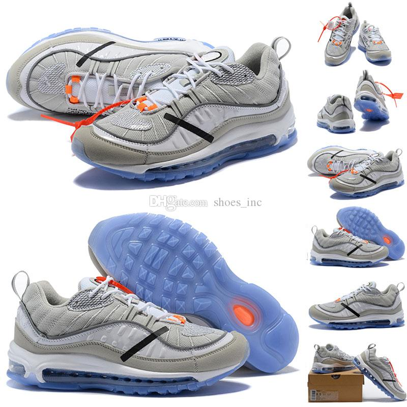 best cheap ef254 7336b 2018 New Arrival 98 X White Grey Orange Ice Blue Bottom Sports Running  Shoes for High quality Mens Women 98s Trainers Jogging Sneakers 36-46