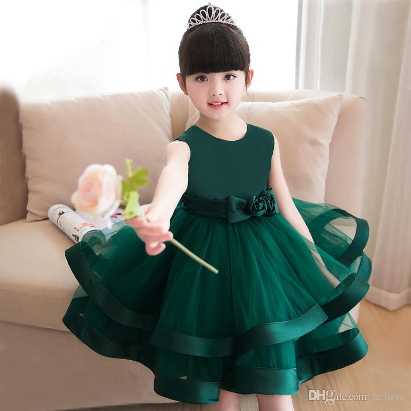 Cheap Dark Green Ball Gown Flower Girl Dresses Knee Length Bow Flowers Tulle Kids Prom Evening Dresses Girl Pageant Gowns In Stock