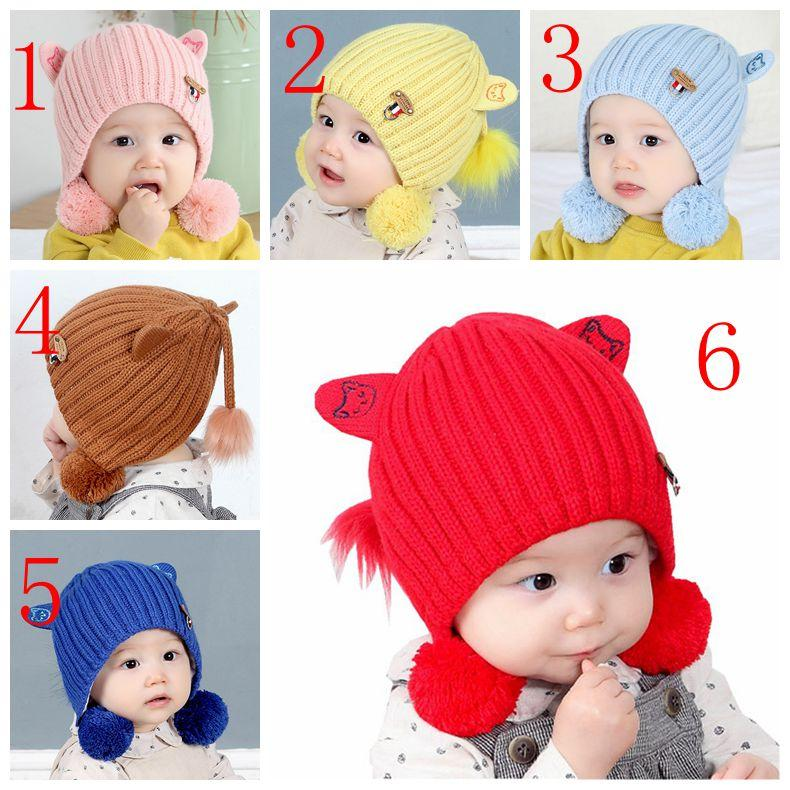 5a8bf893e2a 2019 Baby Hat Autumn Winter Cartoon Earmuffs Thicken Warm Knitting Infant  Baby Hats Kid Grils Baby Cap Newborn Photography Props From Sophia120