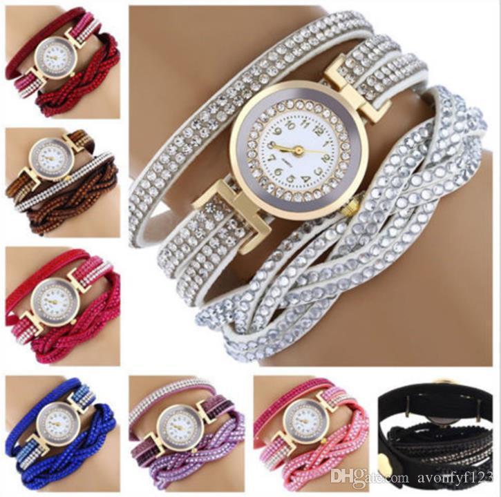 Fashion Colorful Vintage women watches Weave Wrap Rivet ladies Leather Bracelet wristwatches chain dress watches for women ladies A601