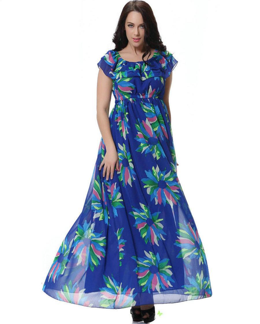 M-6XL Plus Size Floral Printed Chiffon Dress Women 2018 Summer Maxi Dress  Fashion Sexy Big Swing Desses Party Evening Beach Dresses Chiffon Dress  Maxi Dress ... e7f07db1fa14