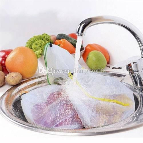 5 Pack Reusable Produce Bags Black Rope Mesh Vegetable Fruit Toys Storage Pouch Durable mesh polyester strong light weigh Fast ship
