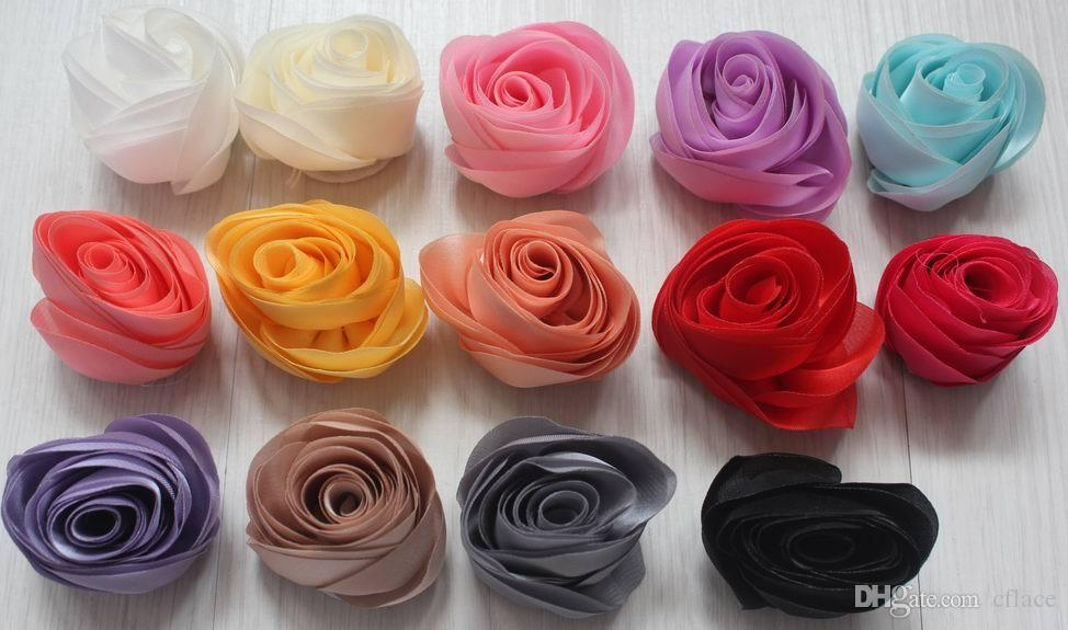 4cm Satin Fabric Rose Flower For Women Hair Clothing Outfit Hat Shoes Bag  Accessories 15e91360fc