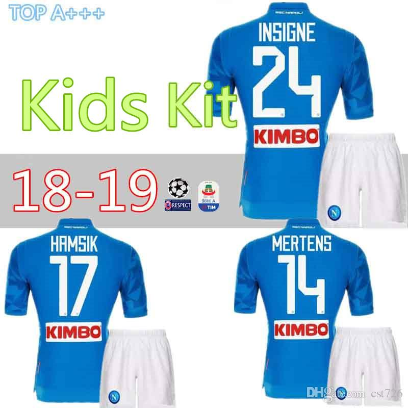5d05cc9fe 2019 New Napoli Soccer Jersey Kids Kits 2018 2019 Naples HAMSIK ZIELINSKI  INSIGNE MERTENS CALLEJON PLAYER Home Football Shirts Kit Best Quality From  Cst726