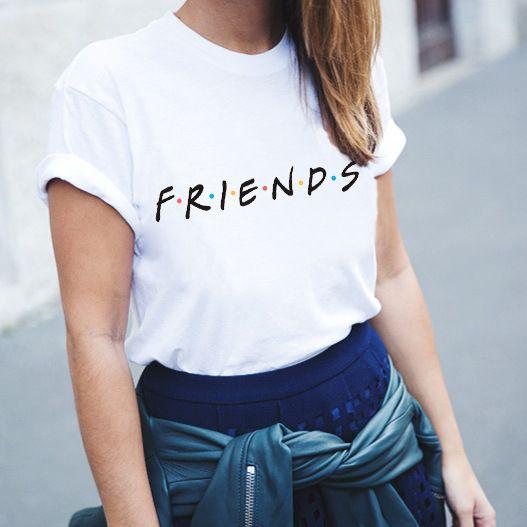 화이트 Tshirt 패션 친구 TV 인쇄 울장해라 주쿠 카와이 Vogue T 셔츠 가장 친한 친구 셔츠 티 탑스 숙녀 의류 NVTX115 R