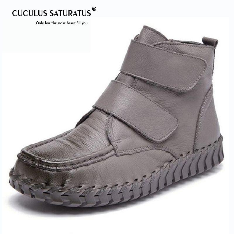 715f4ea6f95 Compre Cuculus Mujeres De Cuero Genuino Botines Vintage Suela Suave Zapatos  Hechos A Mano De Grano Completo Botas Para Las Mujeres Zapatos Planos 1853  A ...