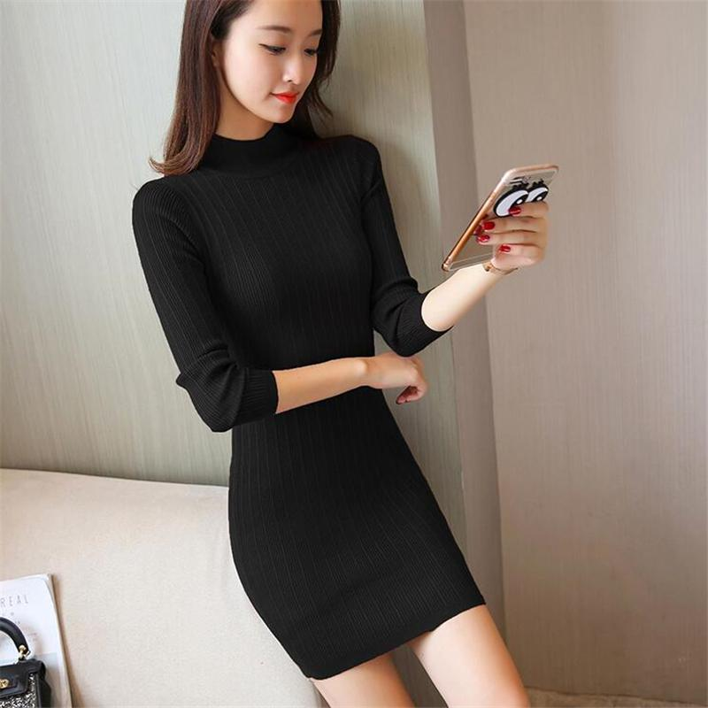 17059d632c 2019 SMSF 2018 Autumn Winter Long Sleeve Knitted Sweater Dress Women Sexy  Casual Bodycon Vintage Dress Female Mini Pullover From Mapnature