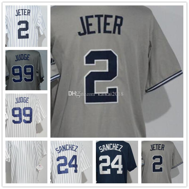 58a60733566e 2019 2018 Youth Hot Sale New York Jersey 2 Jeter 99 Judge 24 Gary Sanchez  Kids Cool Base Baseball Jerseys High Quality Embroidery Logos From  Kaikai2018