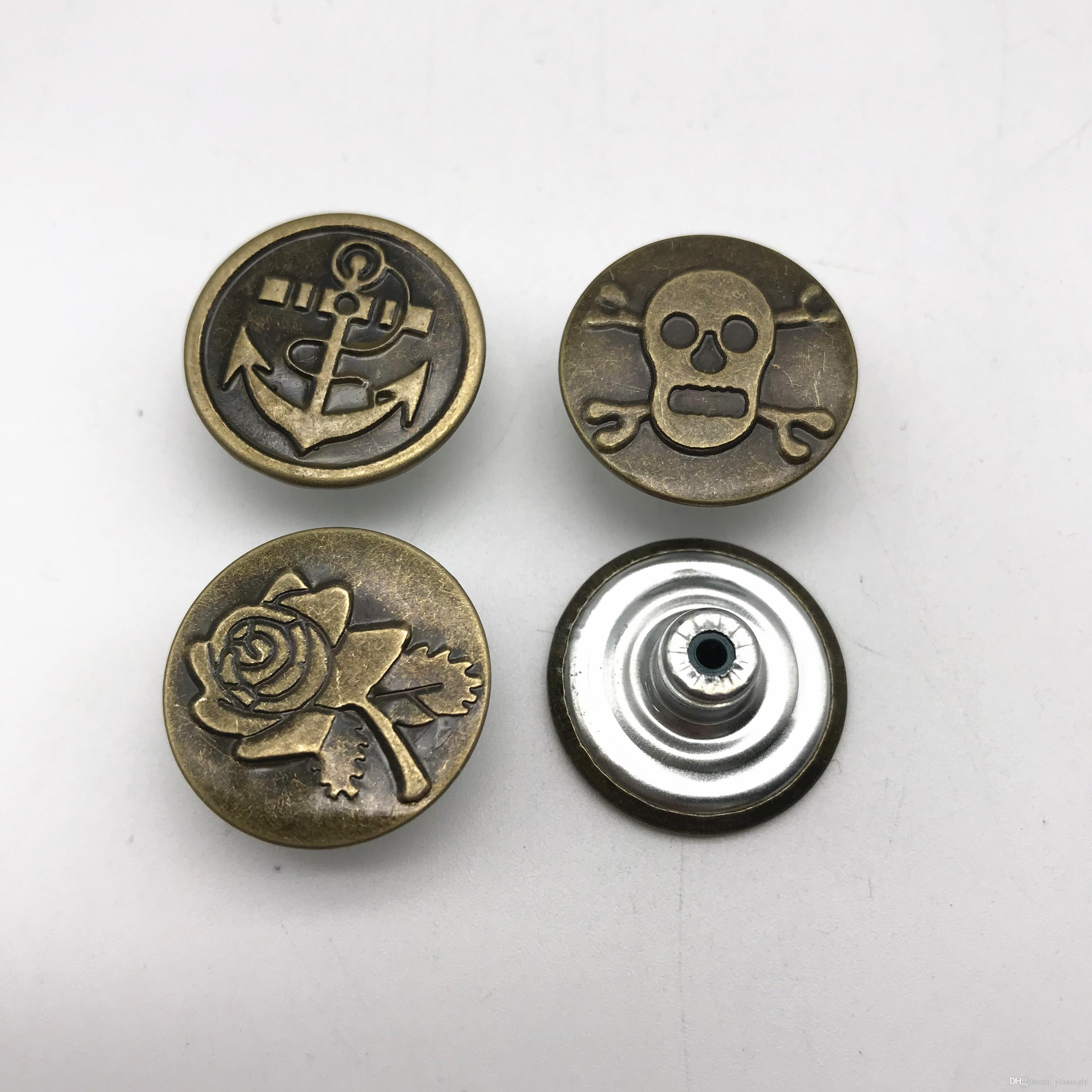 7f82bf4356636 100Sets Skull Rose Anchor Metal Buttons Jean Brass Bronze 20mm fashion  Jeans Button