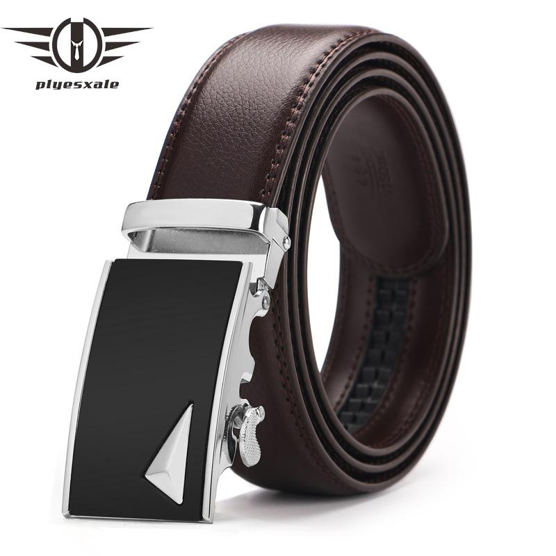 4d2baf4535b67 Plyesxale Genuine Leather Belt Men Luxury Silver Gold Automatic ...