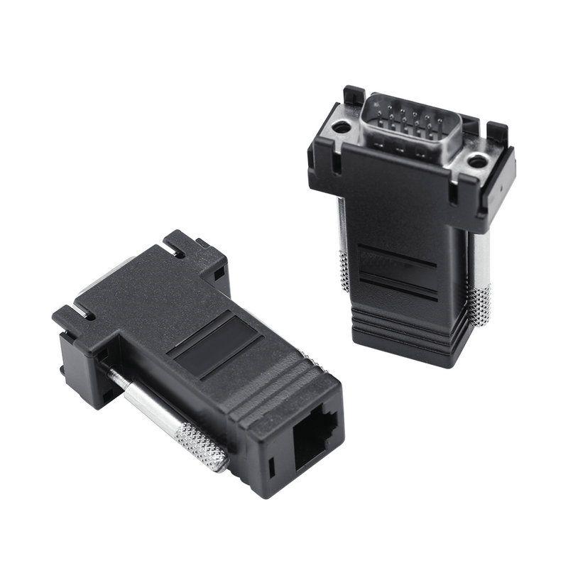 10 Unids / Packs VGA a RJ45 Extensor Adaptador CAT5E CAT6 Conector de Cable Ethernet Macho a Hembra Convertidor es Opcional