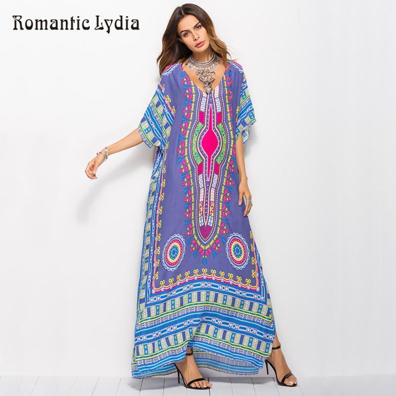 aba605caaab33 2018 Women Kaftan Retro Floor Length Dresses Large Sizes Ethnic Dashiki  Robe Femme Boho Long Maxi Summer Dress Plus Size D1891305