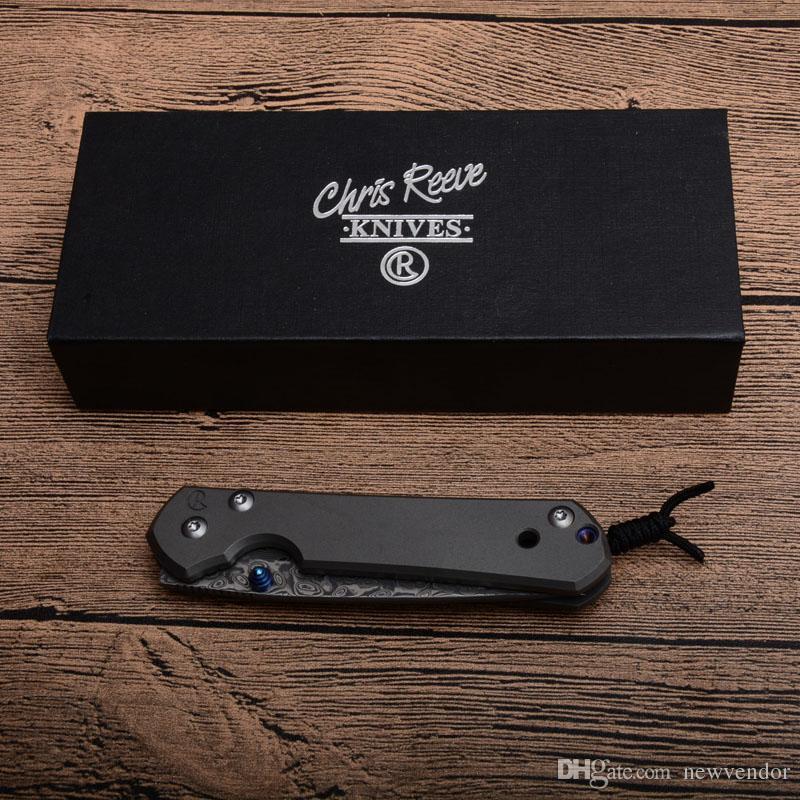 Drop Shipping CR Coltello chiudibile piccolo Sebenza Lama in acciaio damasco TC4 Coltelli a serramanico telaio in lega di titanio con attacco EDC