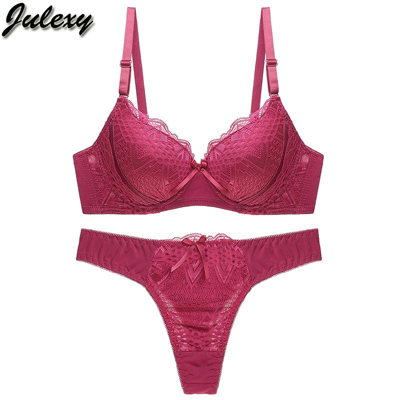 cb49cf73ca191 2019 Julexy Sexy Thongs Women Bra Set Push Up Lace Underwear Set Solid 80  85 90 95 B C Cup Intimate Plus Size Bra Panty From Hiem