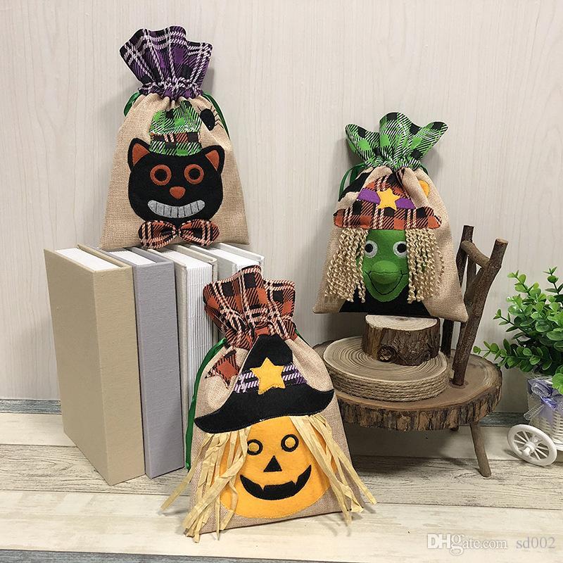 Halloween Decor Gift Wrap Reticule Children Kids Witch Pumpkin