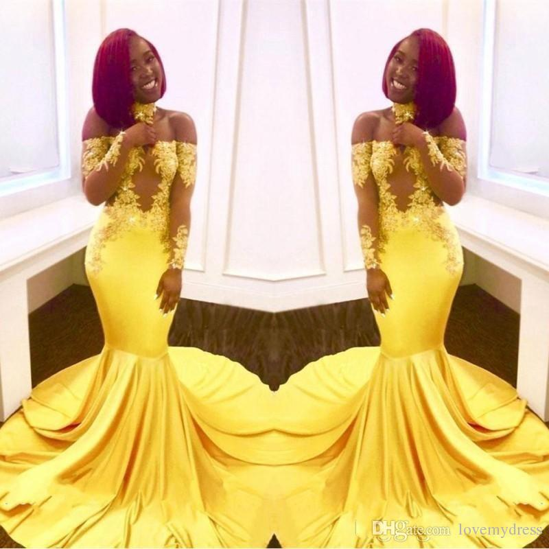 48cd4ac89872 Charming Yellow Off Shoulder Prom Dress Mermaid For Black Girls Illusion  Long Sleeve Lace Satin Sweep Train Evening Formal Gowns Cheap 2018 Modern  Prom ...