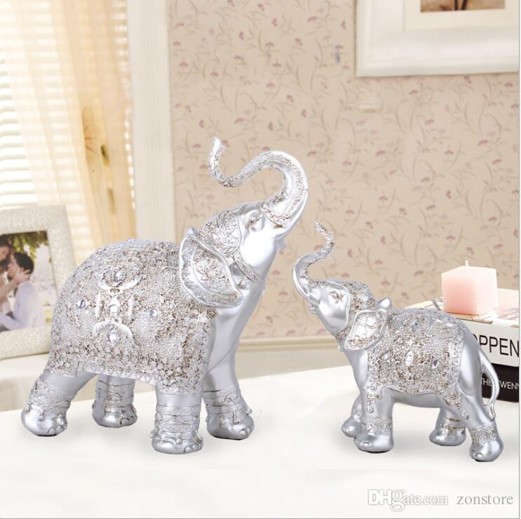 الفيل الراتنج الديكور الأزياء الذهب والفضة 2 ألوان تزيين المنزل الإبداعية غرفة المعيشة النبيذ التخزين خزائن