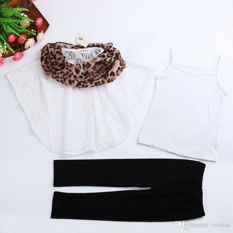 white Lace Bat Shirt +T shirt+ Leopard scarf +black leggings Children Clothing Sets boutique outfit kids girls clothes