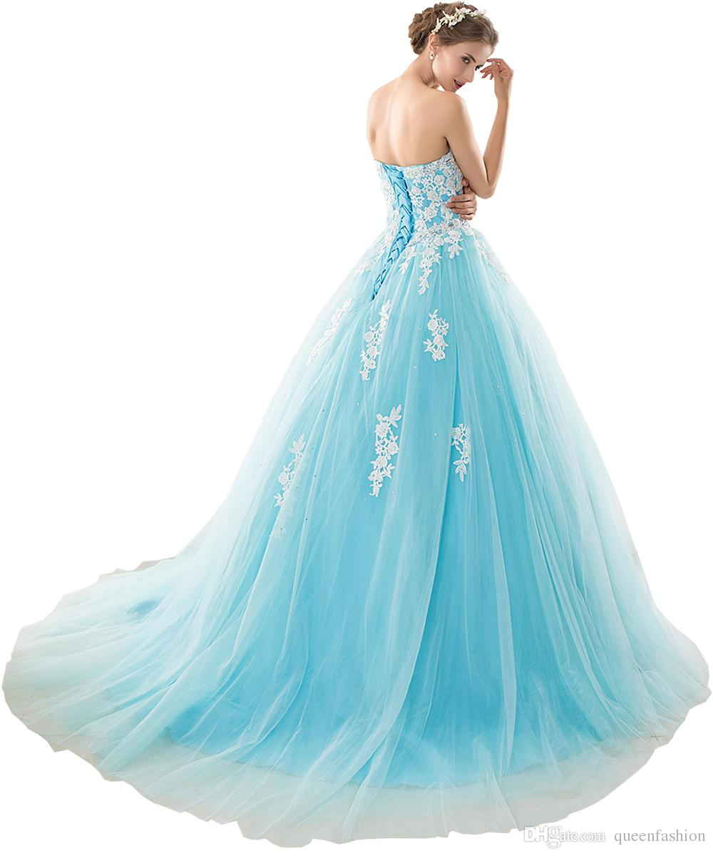 2020 Ball Gown Prom Dresses Long Tulle Puffy Quinceanera Dresses Vestidos 15 anos White Lace Appliques Sweet 16 Dresses Debutante Gown