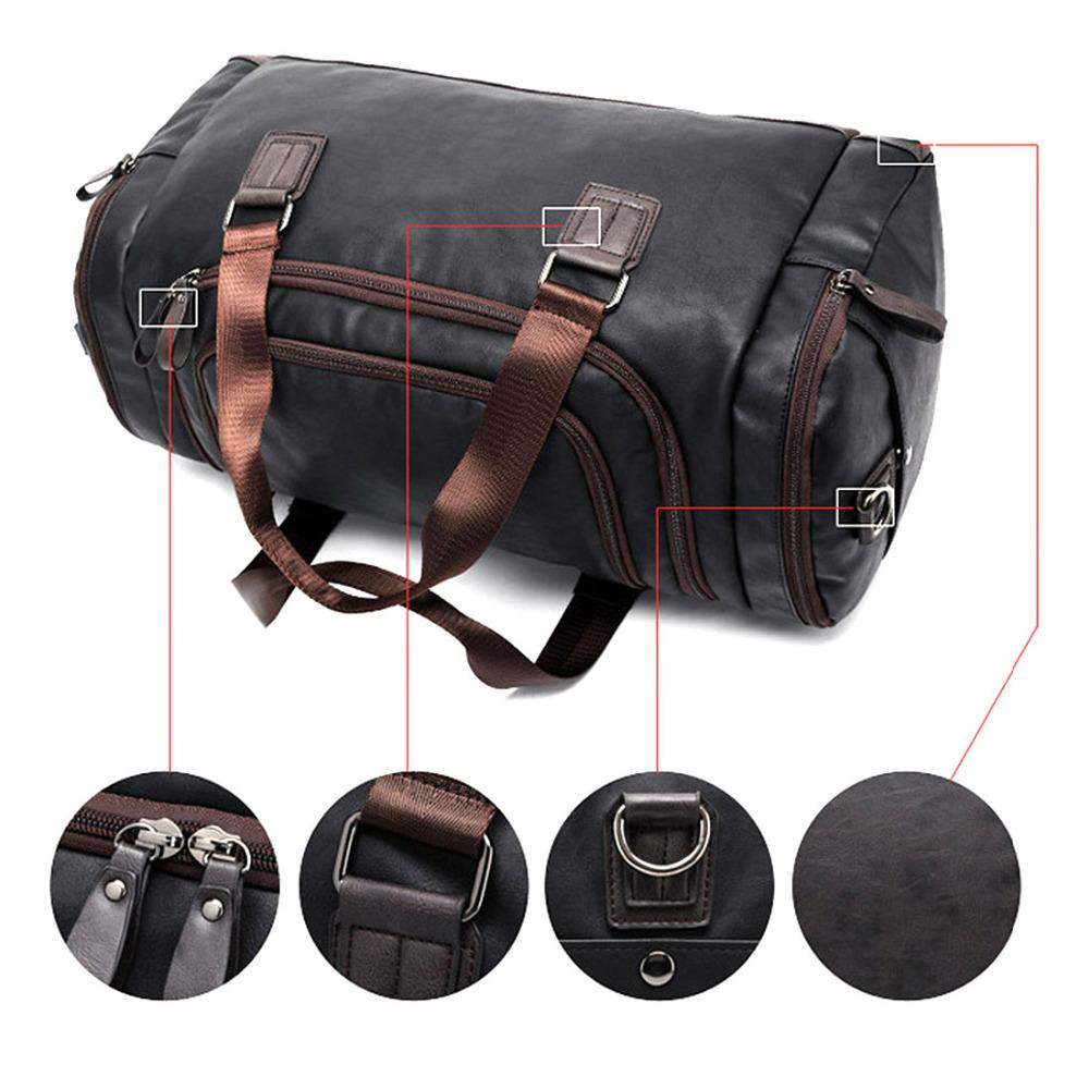 2abda51117f1 2018 Large Capacity Men S Pu Leather Sports Bag Duffel Tote Handbags For Travel  Gym Fitness Male Bag Women Camping Brown Black From Dragonfruit