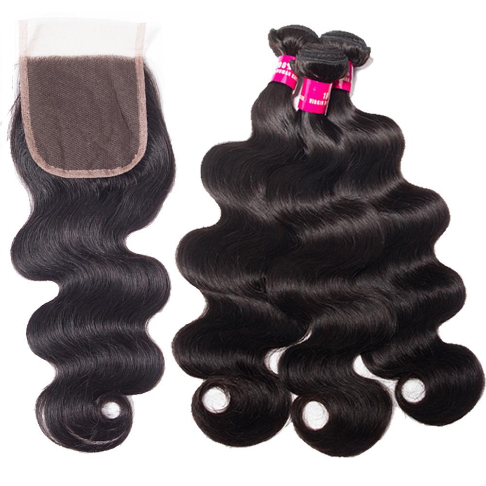 بيرو بيرو الماليزية الهندي العذراء الشعر 3 حزم مع الدانتيل إغلاق 100٪ غير المجهزة الجسم موجة مستقيم فضفاض موجة الشعر البشري نسج
