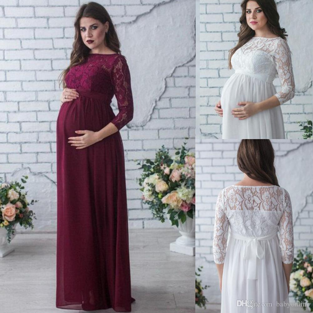 2c48538241b 2019 2018 Elegant Lace Chiffon Pregnant Dress Modest Long Sleeves Maternity  Gowns Women Summer Pregnancy Dress Long MC1745 From Babyonline