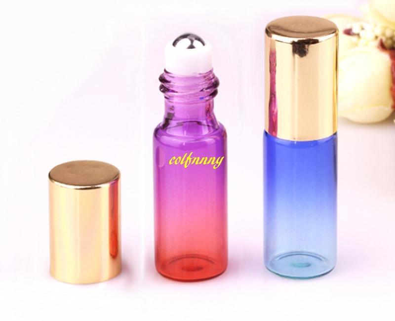 / 5ml قوس قزح الزجاج لفة على زجاجة مع الأسطوانة الفولاذ المقاوم للصدأ صغيرة من الضروري النفط الأسطوانة على زجاجة عينة