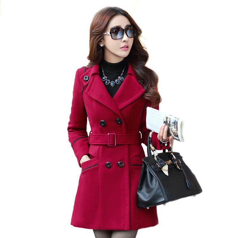 pretty nice 658a8 33876 Cappotto da donna Novità Miscele per donna Cappotti e giacche di lana  Cappotto lungo rosso con trench doppio petto Capispalla donna Plus Size  LC0141