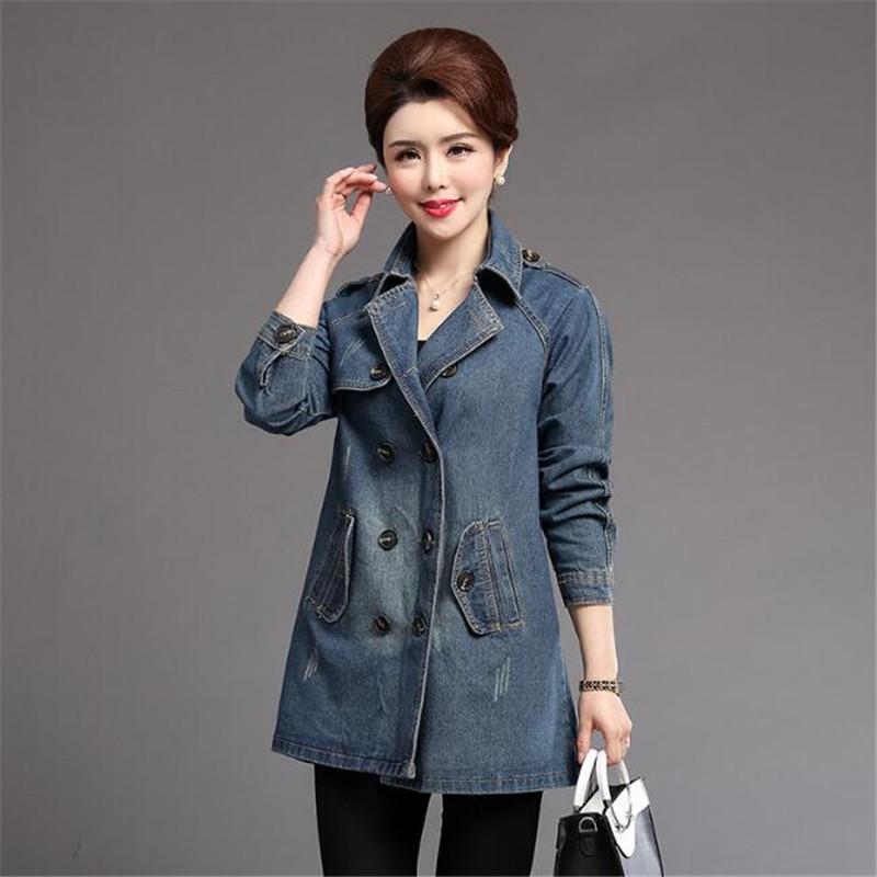 75c75e04c5c 2018 Autumn Winter Women Denim Jacket Big Pockets Outwear Denim Jackets  Long Sleeved Plus Size Jeans Clothing For Female Ds50148 Coats Leather  Jacket From ...
