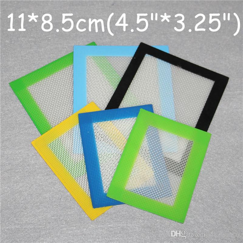 Silicone Mats Wax Non-Stick Pads Silicon Dry Herb Mats 11*8.5cm Food Grade Baking Mat Dabber Sheets Jars Dab Pad Green Blue Yellow