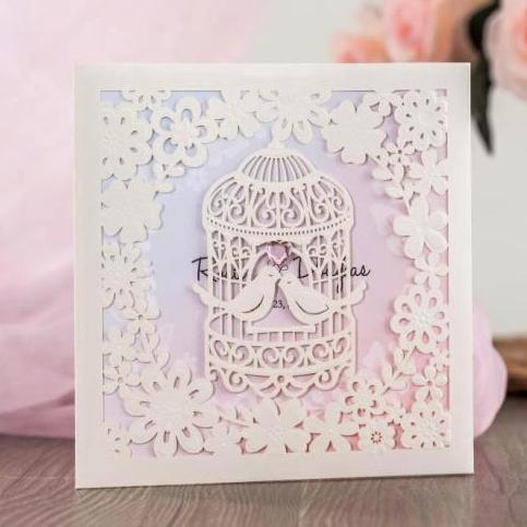 Wishmade wedding invitation cards kit pearl white hollow birdcage wishmade wedding invitation cards kit pearl white hollow birdcage with gemstone for engagement party customizable cw6113 free animated christmas cards free stopboris Images