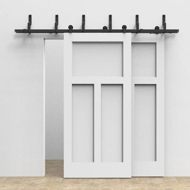 2018 Bypass Black Steel Barn Door Hardware System Bypass Sliding Double  Barn Wooden Doors Track Steel Rolling System Inteior From Att_hardware, ...