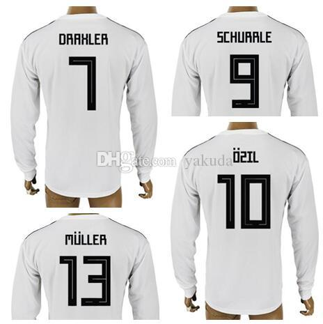 7ba13b65511 2019 Customized 18 19 Home White Long Sleeves Thai Quality Soccer Jersey  Shirt Tops,Mens 7 Draxler 9 Werner 10 Ozil 13 Müller 8 Kroos Soccer Wear  From ...