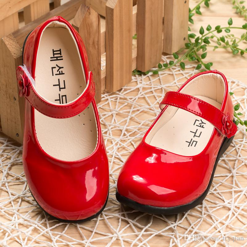 Red White Flowers Children Girls Kids Patent Leather Princess Shoes For Girls Kids Baby Party Wedding Dance Single Shoes New 2018