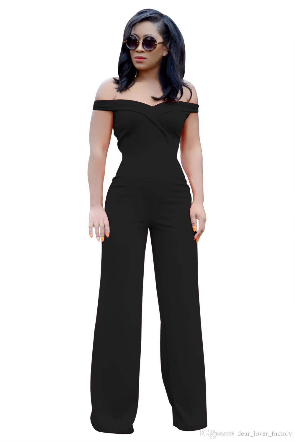 87b45fe289 2019 2018 Party Overalls Femme Sexy Long Trousers Coral Every Heart Off  Shoulder Wide Leg Pants Jumpsuits Clubwear From Dear lover factory