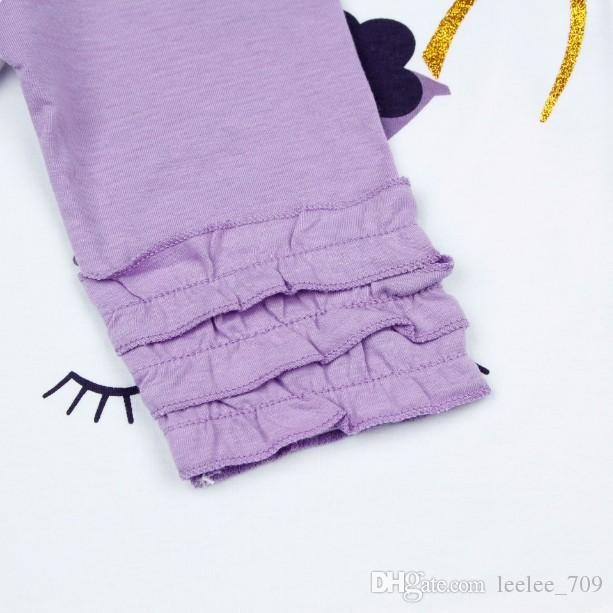 niños primavera verano ropa niña luz púrpura empalme camiseta de algodón niños impresión de pestañas manga de la colmena camisetas