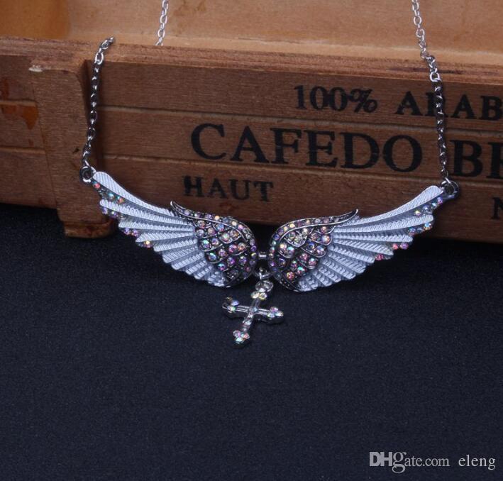 Angel Wing Cross Choker Collana Donna Biker Gioielli Regali Cristallo Argento antico Colore all'ingrosso EXL430