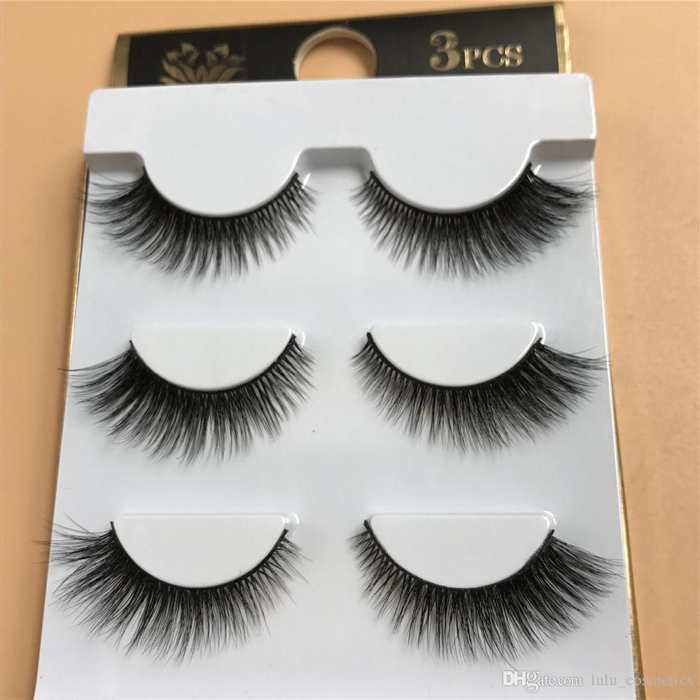 3 Pairs Natural 3D Mink False Eyelashes Fake Lashes Wispy Long Lashes Handmade 3d Makeup Extension Eyelashes for Beauty F4