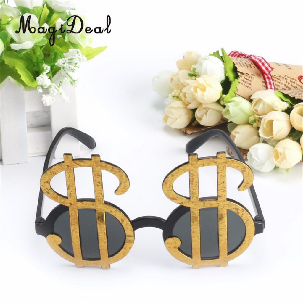Fashion Golden Shiny Dollar Signs Costume Eye Glasses Money ...