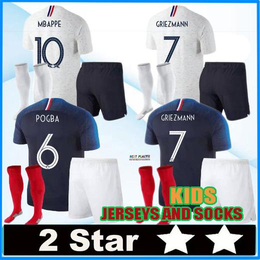new concept 14f05 7736f 2 stars MBAPPE kids kit pogba Jersey 2018 World Cup DEMBELE GRIEZMANN KANTE  national team football shirts maillot equipe de MBAPPE