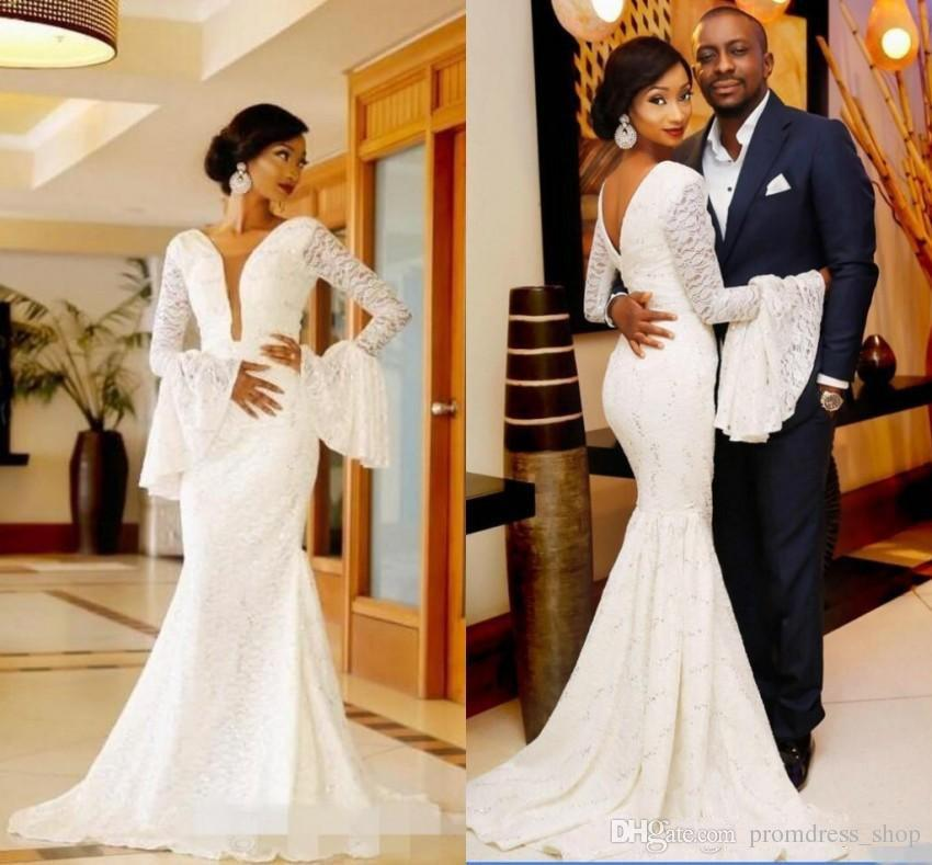 ec70bc964a6 Discount 2019 South African Full Lace Wedding Dress Sexy Mermaid Deep V  Neck Bridal Gowns With Super Long Sleeves Robe De Soriee Bride Dresses  Online Cheap ...