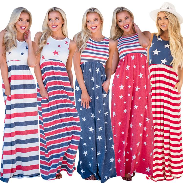efb35c379 2019 Independence Day Maxi Dress Sleeveless Stripe USA National Flag ...