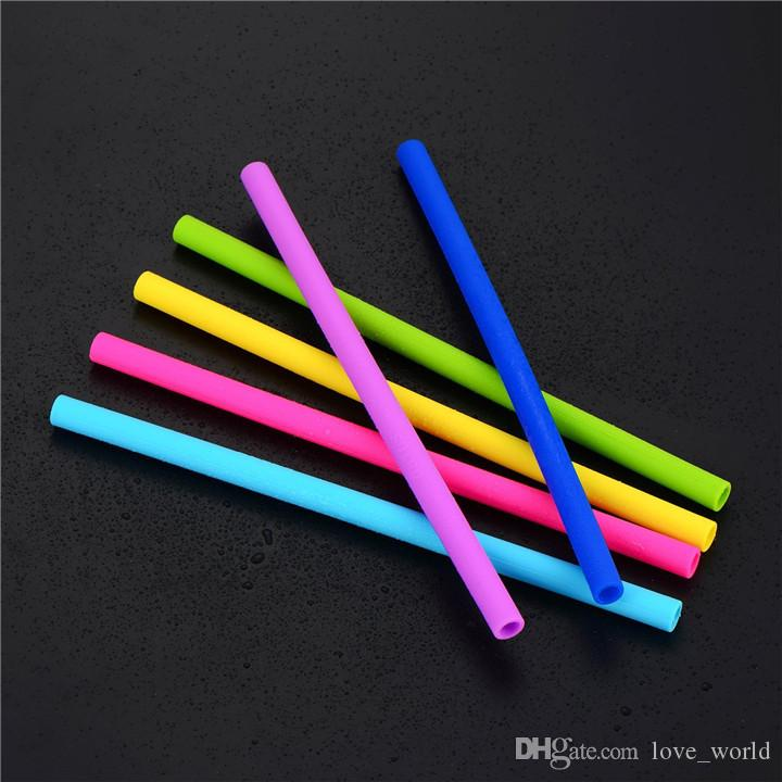 Retail New 2 brush Silicone Straws Set 10inch Reusable Straight Bent Silicone Straw for Cup Drinking Straw