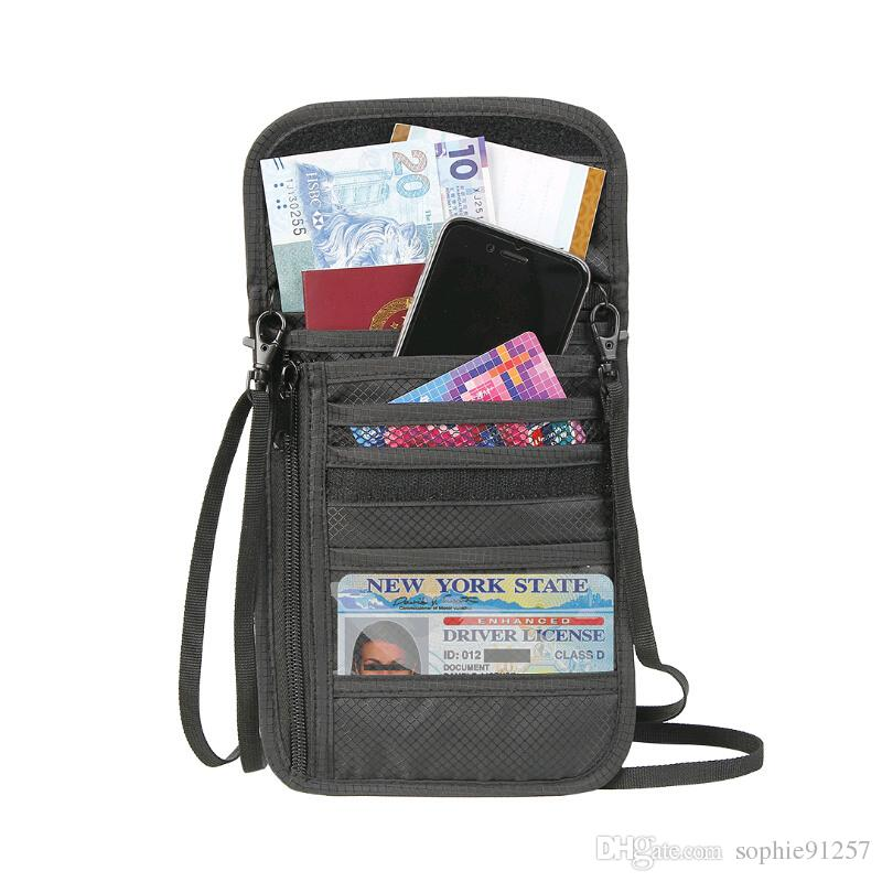 rfid passport holder personalized neck bag protective cover travelling for women short wallet card organizer with PVC window