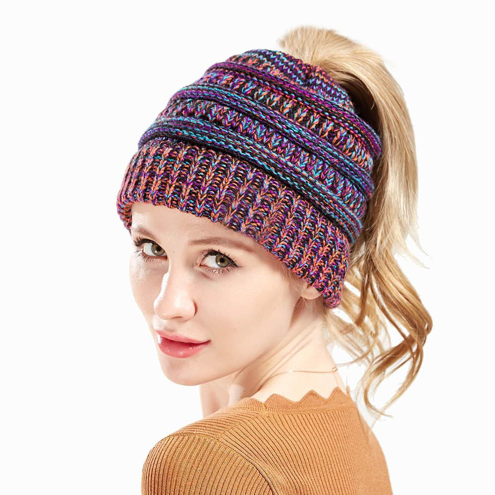 New Preferential Amazon Sells Melange Knitting Wool Hat Woman Not Labeling  CC Horsetail Europe And the United States Fashion CC New Arrival Online  with ... ef4ae4a0268