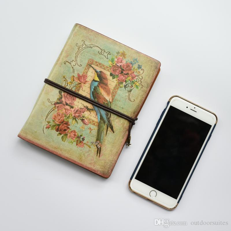 Retro Leather Spiral Notebook Travel Journal Diary Book Vintage Ring Binder Gift Notebook Blank Kraft Paper Office School Supplies