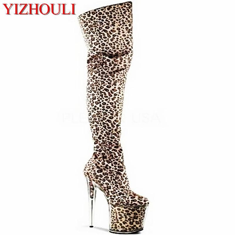 2243e537dea19 Acheter 8 Pouces Avec Plateforme Imprimé Léopard Talons Hauts 20cm Crystal  Chaussures Cuisse Haute Stiletto Bottes Or Super Ciel Plate Forme  Paillettes ...