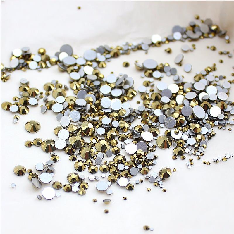 High quality 1packs Mix Sizes Aurum / Gold Non Hotfix Flatback Nail Rhinestones For Nails 3D Nail Art Decoration Gems