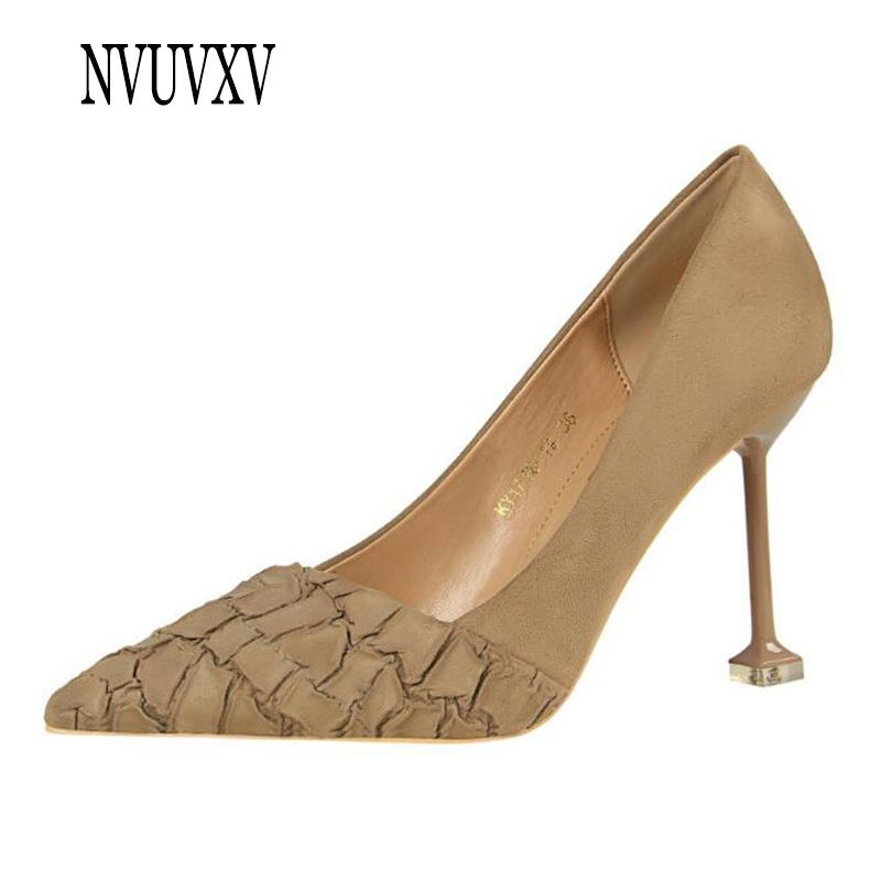 2019 New Style Korean Fashion Women s Shoes High-heeled Suede Single ... c7cc3addfc53